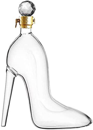 BERTY·PUYI Decantador de Forma de tacón Alto Botella de Vino de Cristal Botella de Vino espumoso Regalo de Las señoras