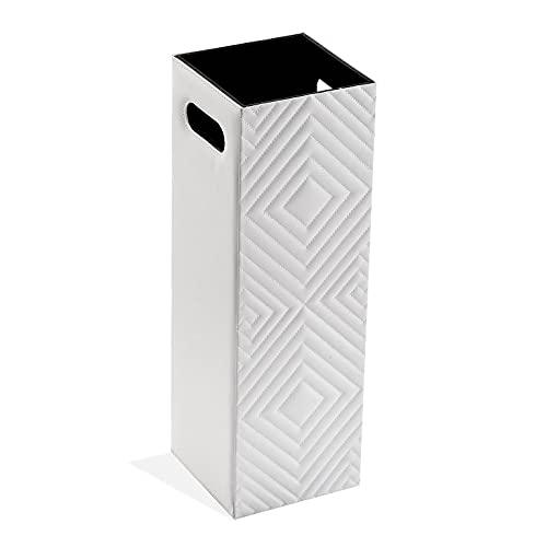 Paragüero Cuadrado de Polipiel en Color Blanco y Negro 56x22x22 cm