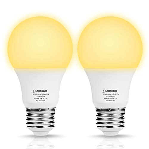 LOHAS LED Sleep Aid Night Light Bulbs, A19 LED Amber Warm Light 2500K Bulb, 40W Equivalent (6W) No Blue Night Light, Goodnight Sleep 500LM Light, E26 Base Bulb for Bedroom, Sleeping, Non-Dim, 2 Pack
