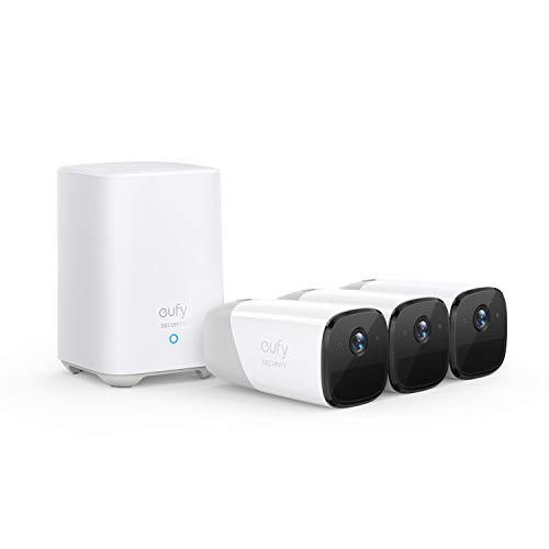 eufy Security, eufyCam 2 Wireless Home Security Camera System, 365-Day Battery Life, HomeKit Compatibility, HD 1080p, IP67 Weatherproof, Night Vision, 3-Cam Kit, No Monthly Fee