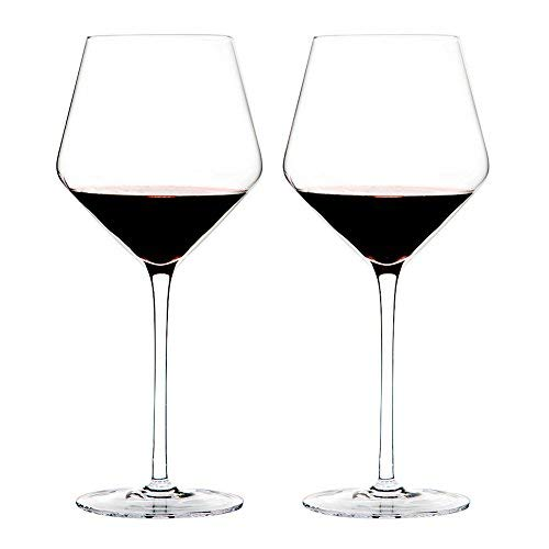 Triangle 23oz, Hand Blown Lead-free Crystal Glass Burgundy/Pinot Noir Red Wine Glasses, Set of 2, Large Bowl and Long Stem, Wedding Gift Set