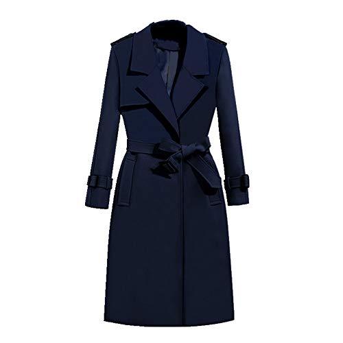 Donne lungo trench cappotto con cintura ufficio signora Blu XXL