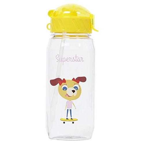 Draeger – Botella para niños Superstar – Botella reutilizable ilustrada – Botella infantil con pajita – Sin BPA – apta para lavavajillas
