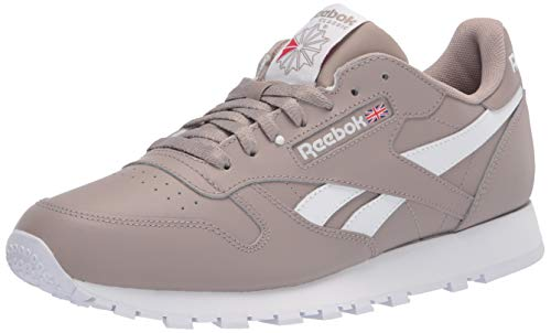 Reebok mens Classic Leather Sneaker, Boulder Grey/White/Vector Red, 6 US