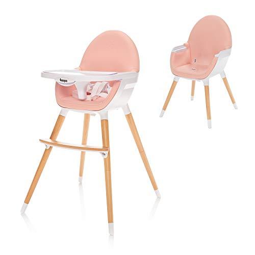 ZOPA Holzhochstuhl DOLCE - ab dem 6. Monat und bis 15 kg, In drei Positionen einstellbares Esstischchen, Kinderhochstuhl Treppenhochstuhl (Blush Pink)