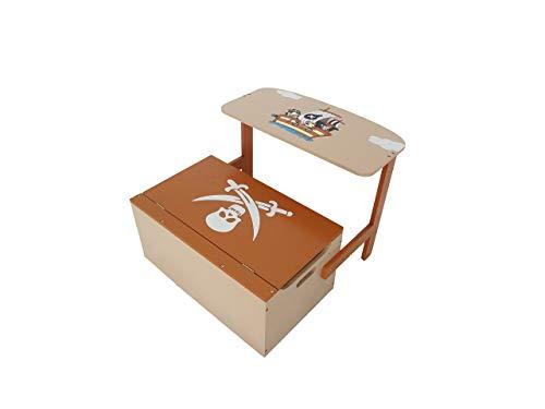 Bebe Style PRF1CTB Verwandelbare Spielzeugkiste + Tischbank + Stuhl - Holzkiste Aufbewahrung, braun - 2