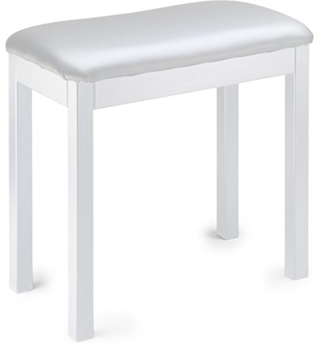 Stagg PBF20 MET WHSWH Piano Bench, White Metal with White Vinyl Top