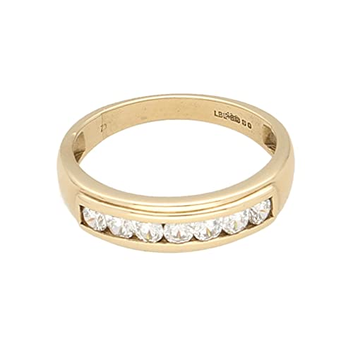 Anillo de eternidad para mujer de oro amarillo de 9 quilates con diamantes de imitación de canal (tamaño L 1/2) | Anillo de lujo para mujer