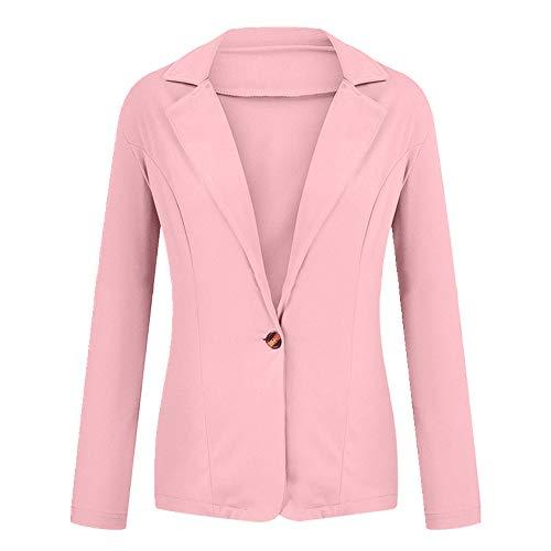 NP Vrouwen Blazer Jas Lange Mouw Blazers Kantoor Lady Jas Vrouwelijke Top - roze - S