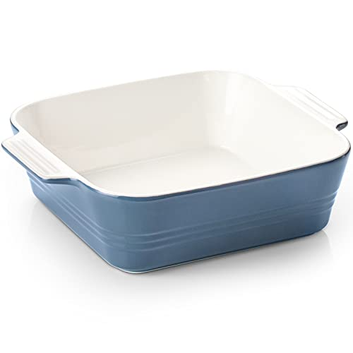 ZONESUM Ceramic Baking Dish, 8x8 Lasagna Pan Deep, Square Baking Cake Pan, Ceramic Bakeware with Double Handle, for Brownie, Cake, Lasagna, Casserole, Roasted Meat, Airy Blue