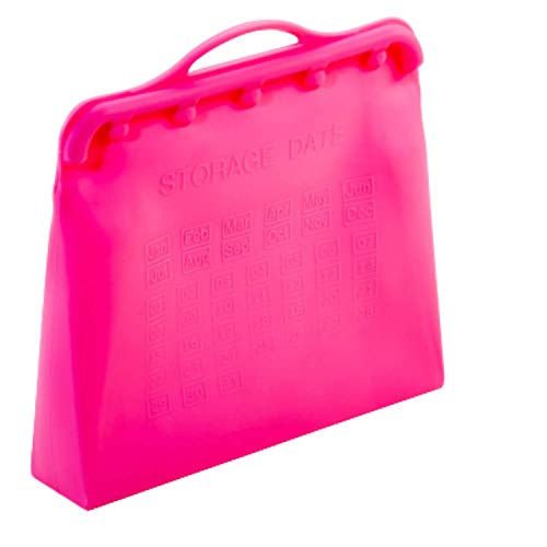Reusable Silicone Food Storage Bags – 2-Liter Upgraded & Patented Easy Open & Close System - Storage Dates & Measurements, includes Braille, Stands Upright – Freezer & Dishwasher Safe (Light Pink)