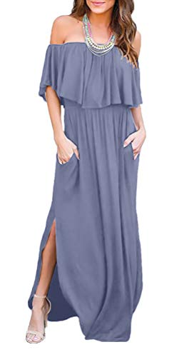 LILBETTER Womens Off The Shoulder Ruffle Party Dresses Side Split Beach Maxi Dress (Purple Grey,Medium)