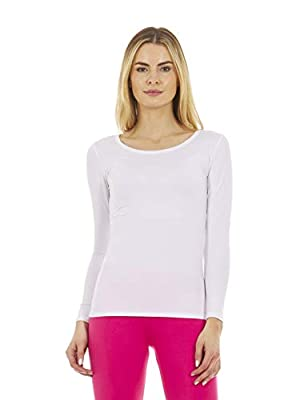 Thermajane Women's Ultra Soft Scoop Neck Thermal Underwear Shirt Long Johns Top with Fleece Lined (White, M)