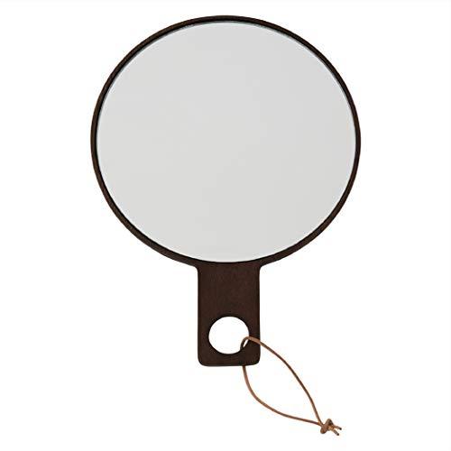 OYOY Living Ping Pong Handspiegel/Kosmetikspiegel/Schminkspiegel Rund Holz Dunkel Braun ca. 24,5 cm lang