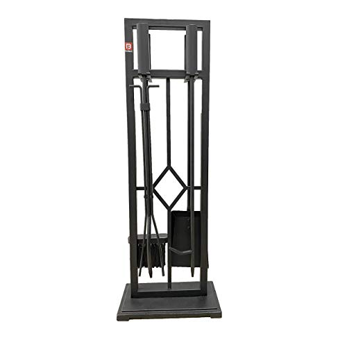 Fire Beauty 5 Pieces Fireplace Tools Set Wrought Iron Fire Place Pit Poker Holder(Black)