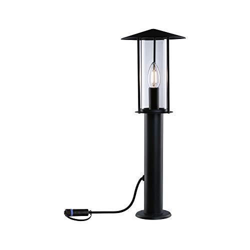 Paulmann 94322 Plug & Shine LED Außenleuchte Poller Classic IP44 incl. 1x2 Watt dimmbar Klar Metall 3000 K E14