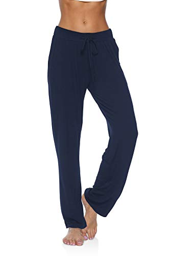 Pantalones de yoga para mujer DIBAOLONG, con agujetas cómodas, recto, para correr, entrenamiento, leggings, Suave, XXL, Marino