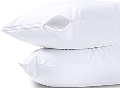 Utopia Bedding Waterproof Zippered Pillow Encasement – Pillow Protectors Jersey - 20 x 28 Inches - (Pack of 2, Queen, White) by Utopia Bedding