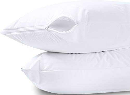 Utopia Bedding Waterproof Zippered Pillow Encasement - Polyester Knitted Jersey - 20 x 28 Inches - Bed Bug Proof (Pack of 2, Queen/Standard, White)