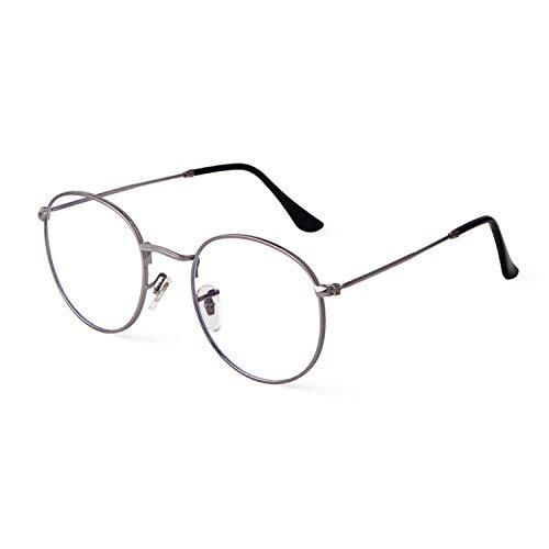 Runde Brille mit Blaulichtfilter Linse Dünner Metallrahmen Trendige Unisex für PC, TV, und Computerbrille(Silberner Rahmen/Anti-blaulichtlinse)
