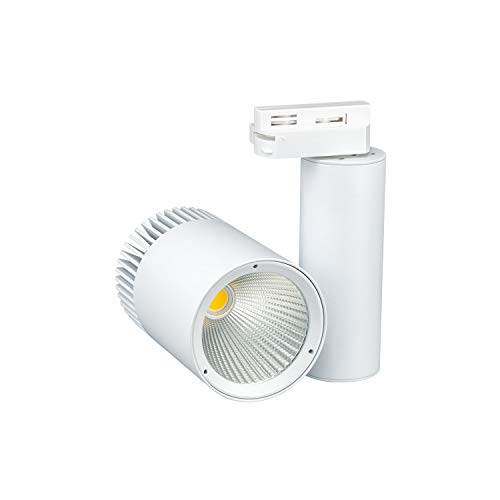 POPP® Luminarias Carril LED en monofasico COB IP20 Blanco y Negro 30W 2800Lm (Blanco, 3000K)