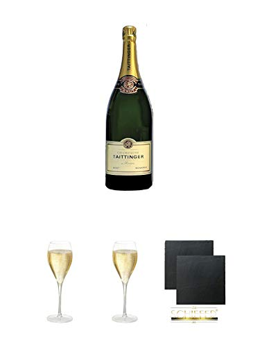 Taittinger Brut Reserve Champagner Methusalem in HK 6,0 Liter + Taittinger Champagner Glas + Taittinger Champagner Glas + Schiefer Glasuntersetzer eckig ca. 9,5 cm Ø 2 Stück