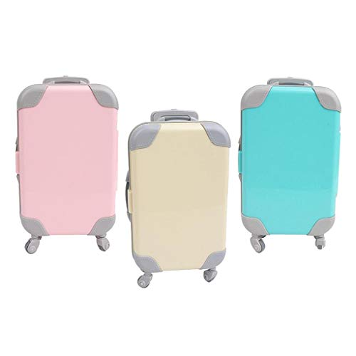 F Fityle 3 Pieces Fashion Plastic Doll Suitcase Luggage Case Simulation for 18' Dolls