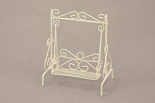 Dekop Miniatur Minigarten, Hollywoodschaukel Mini, weiß, Höhe ca. 9cm (44444635097023)