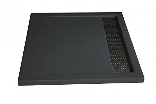 Bernstein Badshop Duschtasse quadratisch 9090BG Mineralguss-Duschwanne Edelstahl - Grau glänzend - 90x90x4,5cm