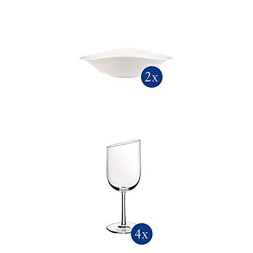 Villeroy & Boch - Vapiano Pastaschalen-Set, 2 tlg., 800 ml, 27 x 21 cm, Premium Porzellan, spülmaschinen-, mikrowellengeeignet, weiß + NewMoon Weissweinkelch-Set, 4 tlg., spülmaschinengeeignet