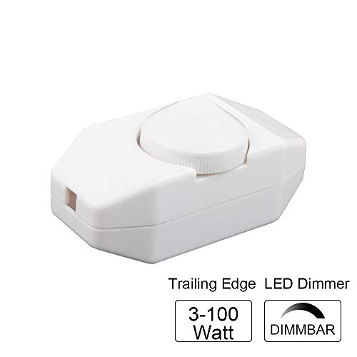 VIPMOON LED dimmer, 3-100 Watt a regolazione continua (dimmer rotativo) LED dimmerabile, 220V-240 V, dimmer bordo dimmer interruttore dimmer CE, Bianco[Classe di efficienza energetica A+++]