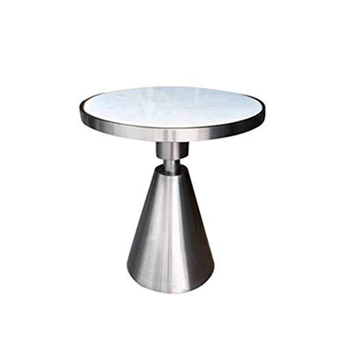 LSX - salontafel kleine salontafel, kleine roestvrijstalen lekken, een paar marmeren zij-woonkamer-balkon op maat, ronde moderne minimalistische helderder (6 kleuren). Bijzettafel