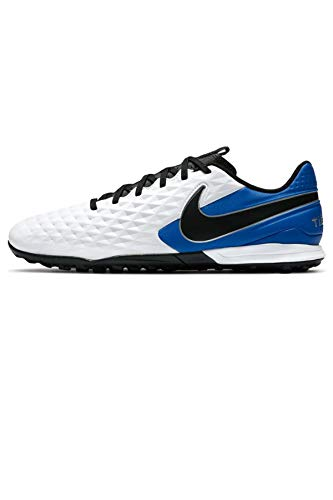Nike Legend 8 Academy TF, Football Shoe Unisex-Adult, White/Black-Hyper Royal-Metallic Silver, 42.5 EU