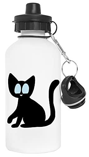 Negro Gato Con Azul Ojos Botella de Agua Blanco Aluminio Reutilizable Water Bottle White Aluminium Reusable