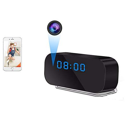 UYIKOO Cámara Espía Oculta, WiFi Cámara Oculta Reloj HD 1080P Cámara Espía Inalámbrica con Soporte de Lentes de 150° de Ancho Visión Nocturna y Detección de Movimiento para iOS/Android
