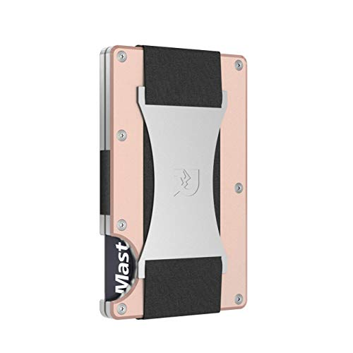 The Ridge Wallet Authentic | Minimalist Metal RFID Blocking Wallet with Cash Strap | Wallet for Women | RFID Minimalist Wallet, Slim Wallet (Rose Gold)