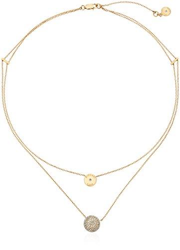 Michael Kors Double Chain Pave Gold Tone Pendant Necklace