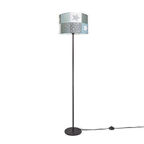 Paco Home Luminaria Infantil LED Lámpara De Pie Dormitorio Estrellas, Lámpara De Pie E27, Base de la lámpara:Una Pata Negro, Pantalla de lámpara:Azul (Ø38 cm)