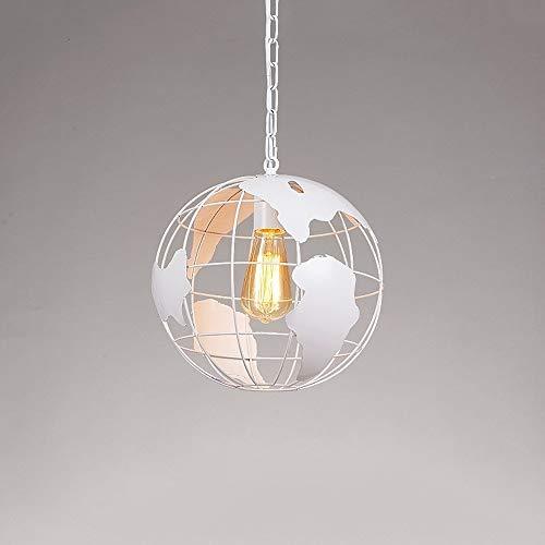 Lampadario a forma di mappamondo terrestre, lampade a sospensione in metallo vintage industriale E27 / E26 Edison Lighting Loft creativo geometrica plafoniera for arredamento camera da letto ufficio s