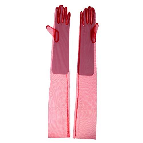 Battercake Paar Sonnenschutz Braut Handschuhe Netzhandschuhe Spitzenhandschuhe Brauthandschuhe Champagner Cozy Fäustlinge Handschuh (Color : Rot, Size : 70cm)
