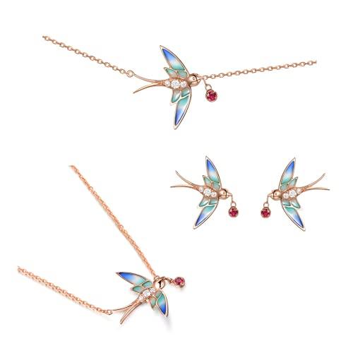 Easenhub s925 collar de plata esterlina pulsera kits de pendientes mujer primavera golondrina colgante personalidad esmalte cadena de clavícula juego de regalo para mujeres niñas
