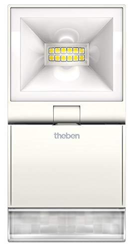 Theben 1020931 theLeda S10 W WH – LED-Strahler mit Bewegungsmelder für den Aussenbereich, Flutlicht, Scheinwerfer, schwenkbar, 840 Lumen, 3.000 K, weiß