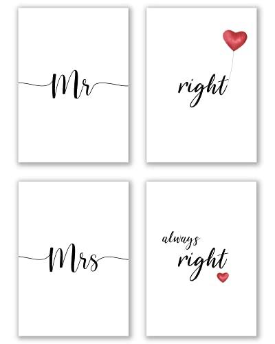 C+C Wandbilder für Paare | Unterschiedliche Sets Verfügbar | Bilder mit Sprüchen für Schlafzimmer ohne Bilderrahmen | Herz Poster Set 4x DIN A4 ca. 21x30 | » Mr Right Mrs Always Right «
