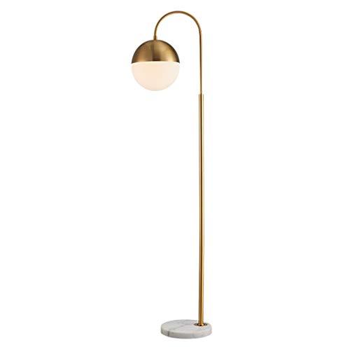 Lámpara de pie Lámpara de pie, de latón antiguo pie de lectura de luz, sala de estar, dormitorio, con pantalla de cristal
