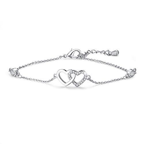 Tusuzik Ankle Endless Love Foot Chain White Gold Plated CZ Double Heart Adjustable Anklet Bracelet for Women Gift