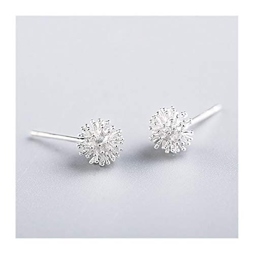 PENGHU FDBB 925 Sterling Silver Women's Jewelry Fashion Small 7mmx7mm Dandelion Stud Pendientes