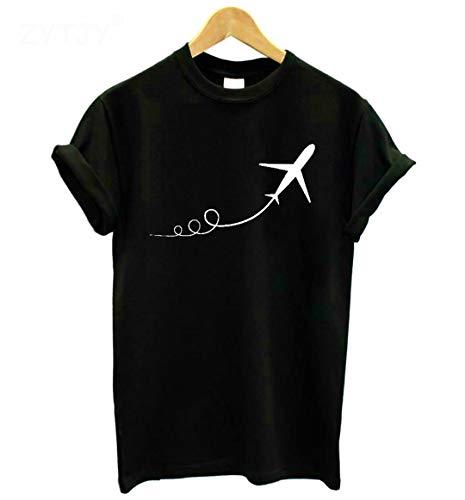Aeroplano Que Quita la Camiseta Divertida Ocasional del algodón de Las Mujeres de la impresión para la Camiseta Superior de la Muchacha de señora Black M