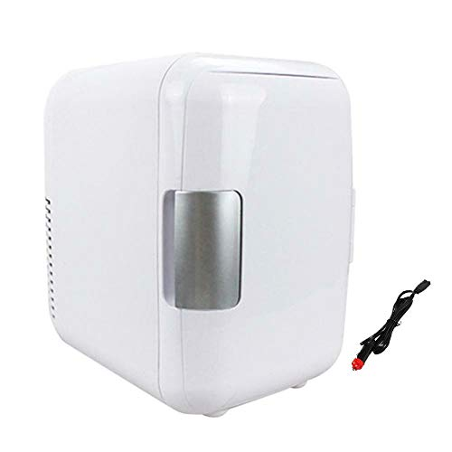 Portable Mini Fridge Freezer, Refrigerador para Automóvil Automoble, Mini Refrigerador Neveras, Refrigerador para Automóvil De Bajo Ruido, Bebidas Alimentos Frutas Arcón Congelador, 4L,White