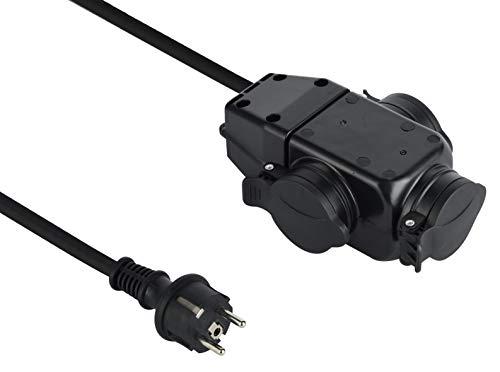 Electraline 208481 Rallonge Professionnel Triplite | Multiprise 3 prises | avec capuchon | 1m Câble H07Rn-F 3G1.5mm²