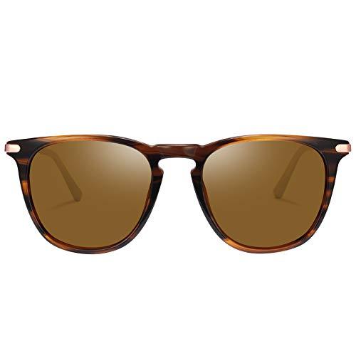 TSEBAN Vintage Damen Sonnenbrille Polarisierte Frauen Brille, Acetat-Rahmen & UV 400 Schutz,Schildpatt; Linse: Braun,Einheitsgröße